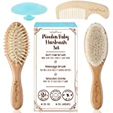 4 Piece Wooden Baby Hair Brush and Comb Set - Natural Soft Goat Bristles | Wood Bristles for Massage | Helps To Prevent or Cradle Cap - for Newborns and Toddlers | Perfect Baby Shower & Registry Gift