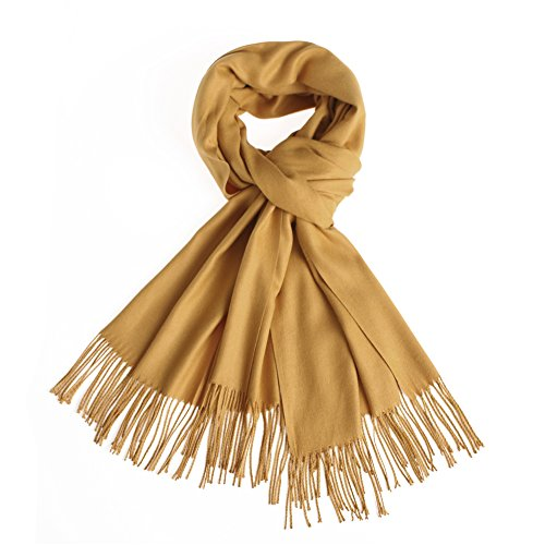 Sapp Large Soft Silky Pashmina Shawl Wraps Fringes Scarf in Solid Colors