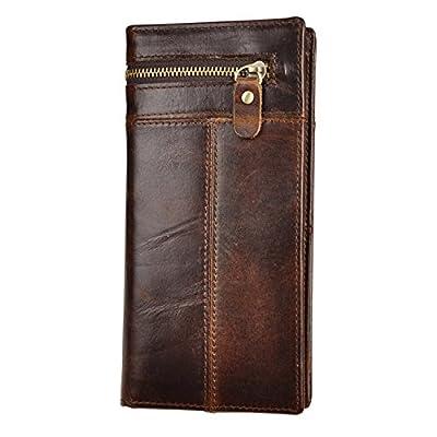 Le'aokuu Mens Leather Zipper Pocket Id Business Card Case Holder Organizer Wallet Phone Case Designer Bifold Checkbook Purse