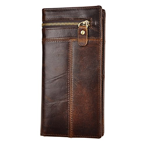 Leather Checkbook Organizer (Le'aokuu Mens Genuine Leather Organizer Checkbook Card Case Bifold Wallet with Zipper Pocket (Coffee 2))