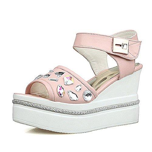 AgooLar Women's High Heels Solid Hook-And-Loop Open Toe Sandals Pink