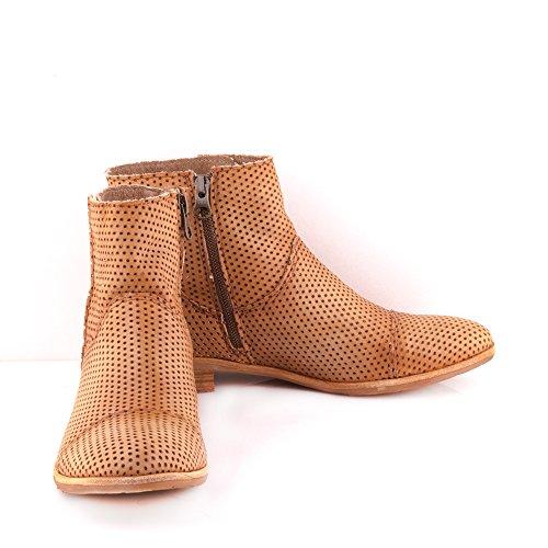 Felmini - Zapatos para Mujer - Enamorarse com Delta A017 - Botines Cowboy & Biker - Cuero Genuino - Marrón Marrón