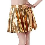HDE Women's Shiny Liquid Metallic Wet Look Flared Pleated Skater Skirt (Gold, Small)