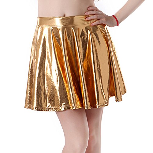 HDE Women's Shiny Liquid Metallic Wet Look Flared Pleated Skater Skirt (Gold, -