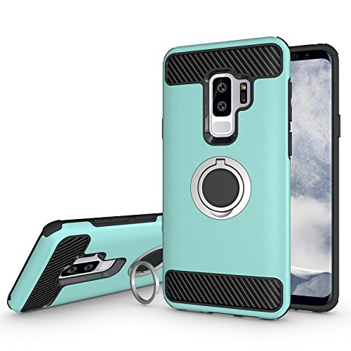 Newseego Compatible Samsung Galaxy S9 Plus Case, Armor Dual Layer 2 in 1 and Finger Ring Holder Kickstand Fit Magnetic Car Mount for Samsung Galaxy S9 Plus-Green