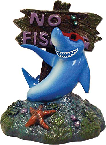 Fishing Ornament Aquarium (BLUE RIBBON PET PRODUCTS EE-380 Exotic Environments Cool Shark No Fishing Sign)