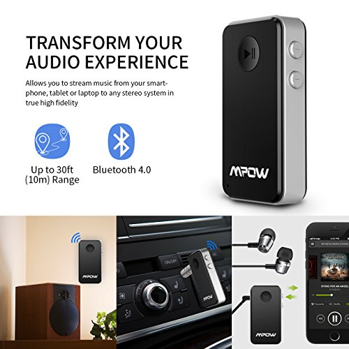 Mpow Bluetooth Receiver, Streambot Mini Bluetooth Car Aux Adapter/10Hrs Hands-Free Car Kits/Portable Wireless Music Adapter for Car/Home Audio Stereo System (CSR/HFP/HSP/A2DP/AVRCP/Built-in Mic)