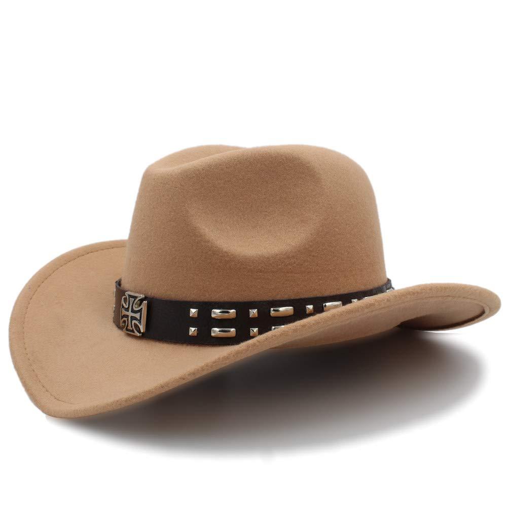 Color : Caf/é, tama/ño : 56-58CM Cicongzai Cool Western Western Sombreros Chapeu Cowboy Equestrian Cap Cowboy Hats Hombres Sun Visor Cap Women Travel