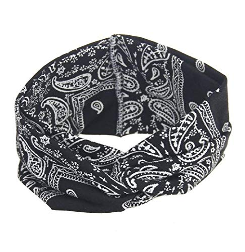 iNoDoZ Women's Yoga Sport Running Headband Elastic Floral Hair Band Turban Twisted Knotted Headwear Black ()