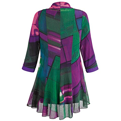 Women's Tunic Jacket - Purple Paradise Open Front Cardigan And Top - 1X