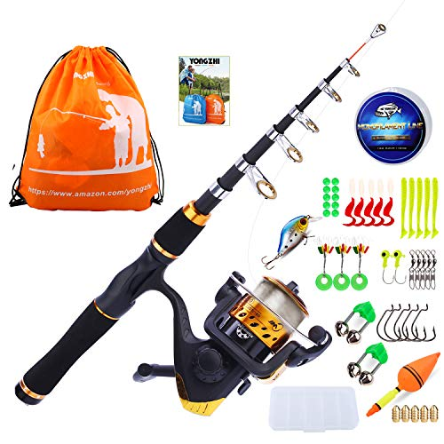 YONGZHI Kids Fishing Pole with Spinning Reels,Telescopic Fishing Rod,Shoulder Pocket,Full Kits Tackle Box for Travel Freshwater Bass Trout Fishing-Golden