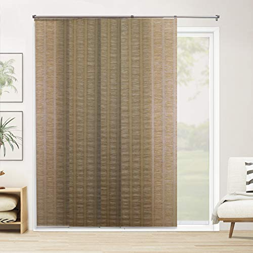 "CHICOLOGY Adjustable Sliding Panels Cut to Length Vertical Blinds, Up to Up to 80"" W X 96"" H, Florence Henna (Privacy & Natural Woven)"