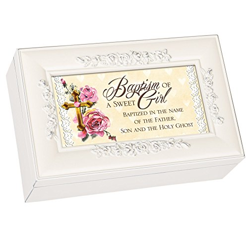 Cottage Garden Baptism of a Sweet Girl Glossy Ivory Finish Petite Jewelry Music Box - Plays Jesus Loves Me