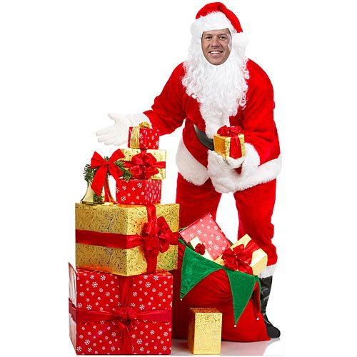 5 ft. 10 in. Santa Claus Photo Op Standup Photo Booth Prop Background Backdrop Party Decoration Decor Scene Setter Cardboard Cutout]()