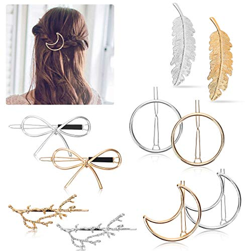 (Hair Clips - 10 Pcs Geometric Hair Barrettes Metal Moon Round Circle Butterfly Leaf Minimalist Hair Pins Hair Styling Accessories)