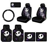 jack and sally car seat covers - Plasticolor 10 Piece Nightmare Before Christmas Jack Skellington Bones DesignFloor Mats, Seat Covers, Steering Wheel Cover Set with Bonus CD Visor Organizer for Your Car Truck or SUV à