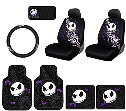 Plasticolor 10 Piece Nightmare Before Christmas Jack Skellington Bones DesignFloor Mats, Seat Covers, Steering Wheel Cover Set with Bonus CD Visor Organizer for Your Car Truck or SUV à]()