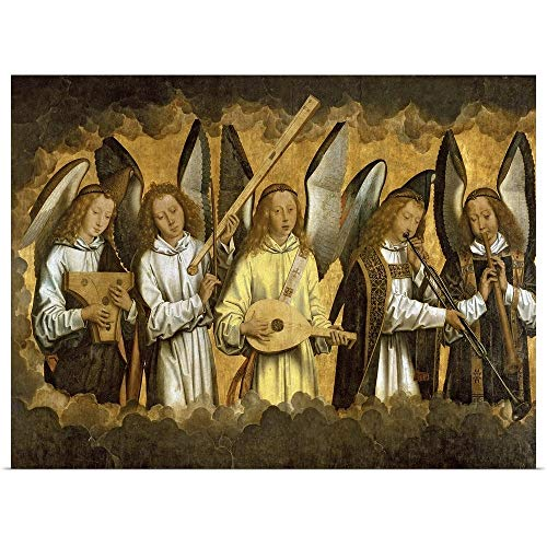 GREATBIGCANVAS Poster Print Entitled Five Angels Playing Musical Instruments by Hans (1433-1494) Memling - Instruments Playing Musical Angels