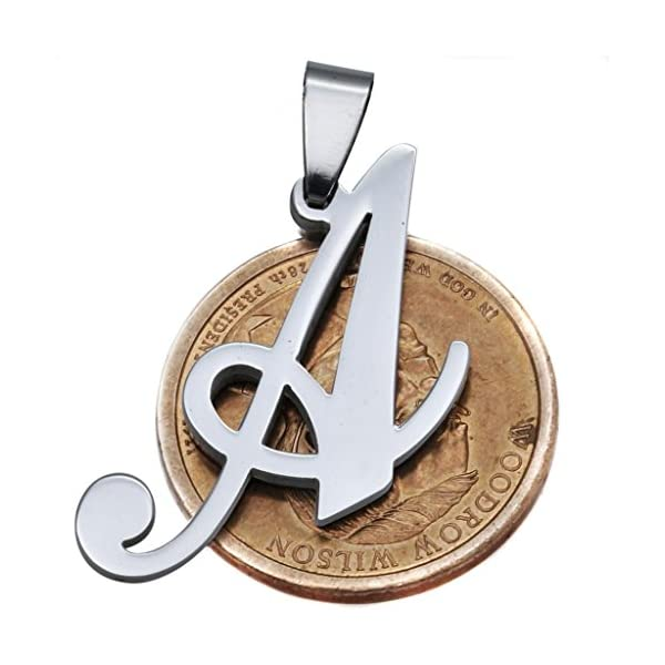 5ae8930cca9d2 FUNRUN Womens Mens Stainless Steel Initial Letters Pendant Necklace ...