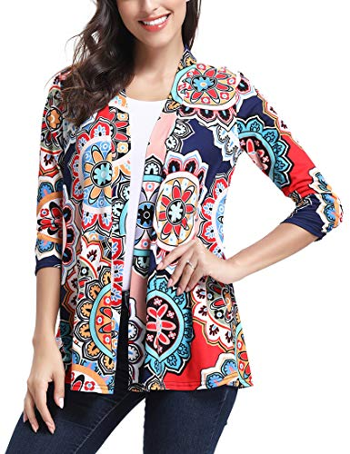 - Womens 3/4 Sleeve Floral Cardigans for Women Floral Print Back Lace Outwear S