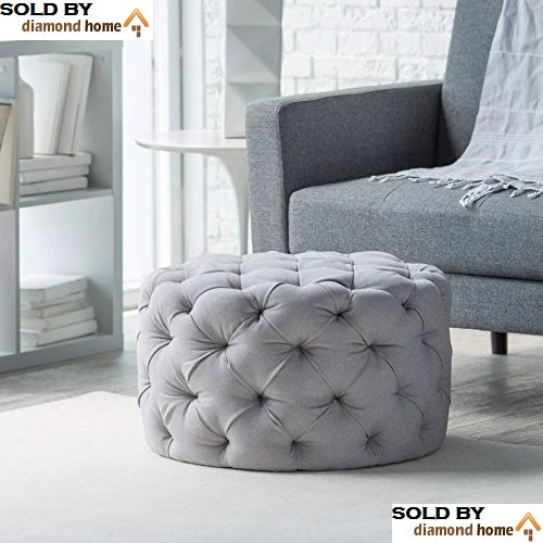 Round Ottoman Grey, This Large Tufted Round Ottoman Features a Textured All...