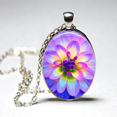 Dahlia Flower Pendant - Oval Floral Necklace- Decoupage Under Glass Artwork