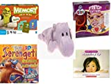 Children's Gift Bundle - Ages 3-5 [5 Piece] - Shrek Forever After Memory Game - Wilton Kids Stretchy Silicone Cookie Cutter Set, 10-Piece - TY Beanie Baby - Happy the Hippo - Badu's Bad Day 3D Story