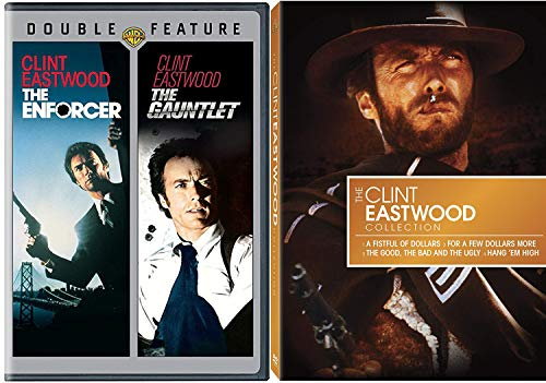 Det. & Western Man no Name With Clint Eastwood Fistful & Few More Dollars / Good Bad & Ugly + Hang 'em High + Dirty Harry Enforcer & Gauntlet DVD Action Rides, Horses & Guns Pack