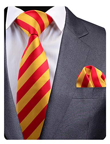 GUSLESON New Mens Striped Tie Red Yellow Wedding Necktie Pocket Square Set (0783-12)