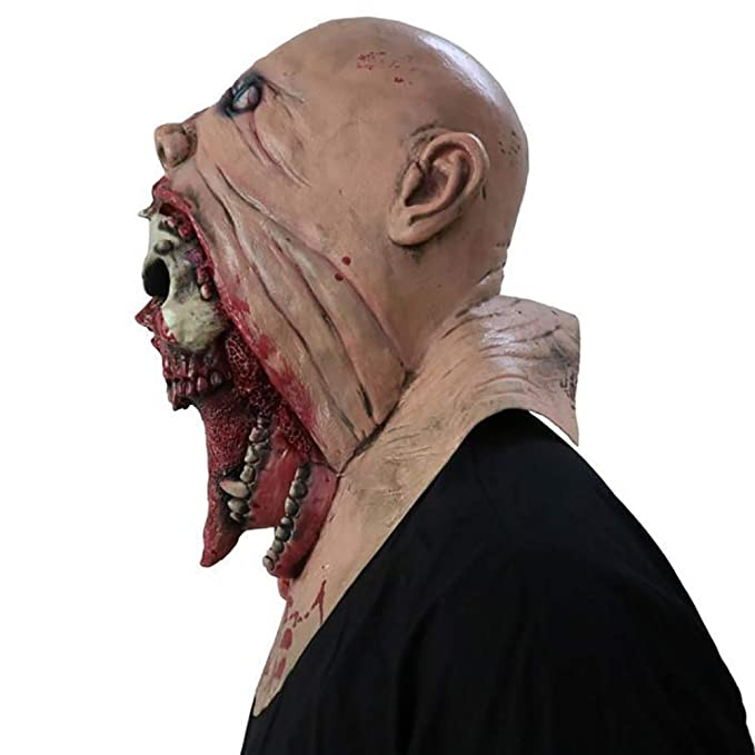 Amazon.com: Bloody Zombie Mask Melting Face Adult Latex Costume Walking Dead Scary for Carnivals Parties Masquerade Halloween: Clothing