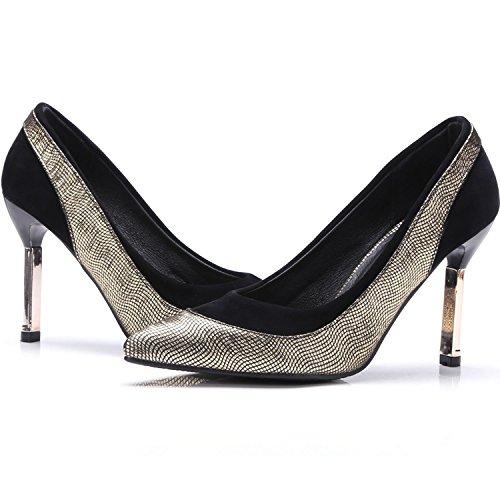 KingRover Heel Print Miacrofiber High Color Women's Gold Metal Fashion Pumps Slip on Mosaic Snakeskin vnWva