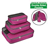 Travel Packing Organizer Packing Cube Set 3pc Double-Sided 6 Pockets, MOOITEK (Pink)