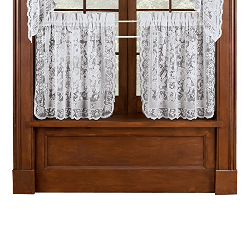 Collections Etc Floral Lace Cafe Curtain Tiers Set of 2, Win