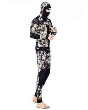 ZCCO Camo Hoodie Wetsuits Mens 3.5MM Neopreno Buceo De Dos Piezas Piel Deportiva Pesca Submarina Traje De Buceo De Cuerpo Entero,1,L