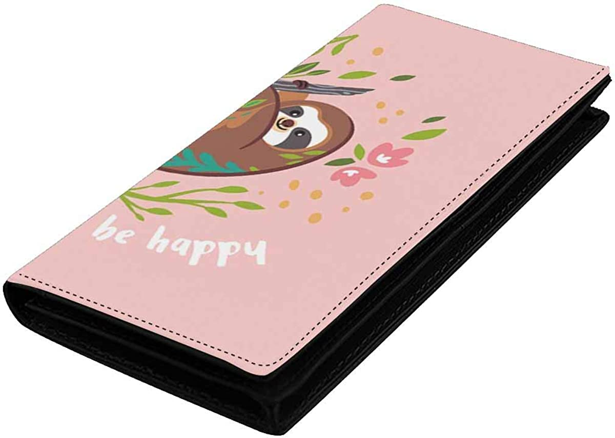InterestPrint Womens Cute Baby Sloth Flowers and Leaves Clutch Purse Card Holder Organizer Ladies Purse