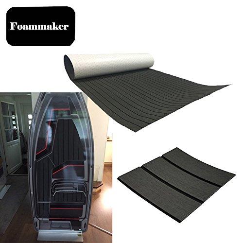 Foammaker High Density EVA Non-Slip Marine Teak Decking Sheet, DIY Flooring for Boat, Yacht (35.4in × 95.4in Dark Grey with Black Lines) (The Best Decking Material)