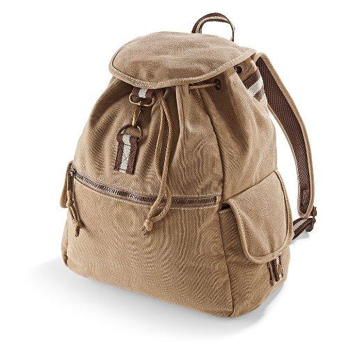 Quadra Unisex Taschen-Vintage Canvas Rucksack-Backpack-Eine Größe-Sahara-KOSTENLOSE LIEFERUNG