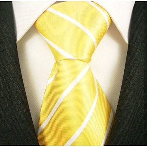 Pencil Stripe Ties for Men - Woven Necktie - Lemon Yellow ()