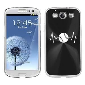 Samsung Galaxy S III S3 Aluminum Plated Hard Back Case Cover Heart Beats Baseball Softball (Black)