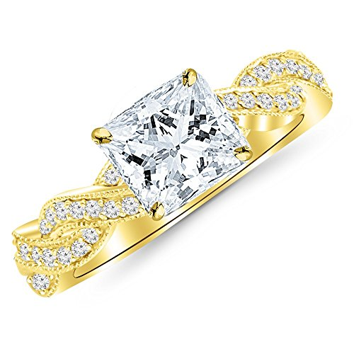 0.53 Cttw 14K Yellow Gold Princess Cut Vintage Eternity Love Twisting Split Shank Diamond Engagement Ring With Milgrain with a 0.25 Carat J-K Color SI2-I1 Clarity (381 Shank)