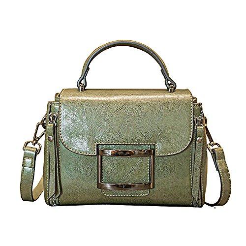 FLHT Bolso De Hombro Cuadrado De Cuero De Mujer Bolso De Messenger Bag Retro De Moda Green