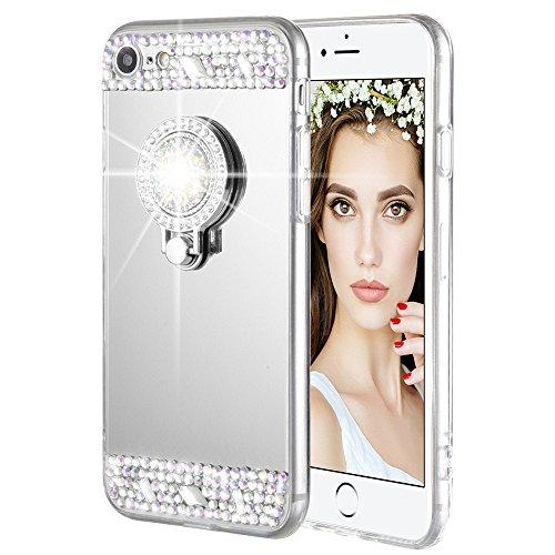 iPhone 7/8 Case, Caka iPhone 7 Glitter Case [Rhinestone Series] Luxury Cute Shiny Bling Mirror Makeup Case for Girls with Ring Kickstand Diamond TPU Case for iPhone 7/8 - (Silver) Rhinestone Iphone Cases