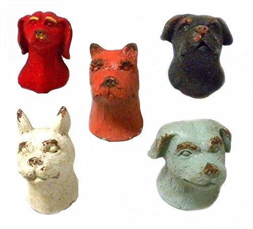 Set of 5 Pewter Dog Head Refrigerator Magnets - antiqued Distressed Finish - dachshund french bulldog scottish terrier labrador rotweiller