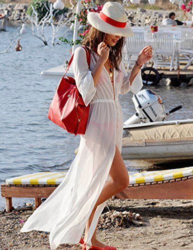 Ohyeah Women's Beachwear Summer Style Long Sleeves Thin Shirt Dress White UK 6-10
