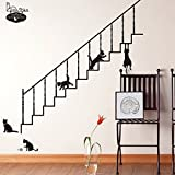 Home DIY Black Stair Cats Removable Wall Sticker Decor Decal Art