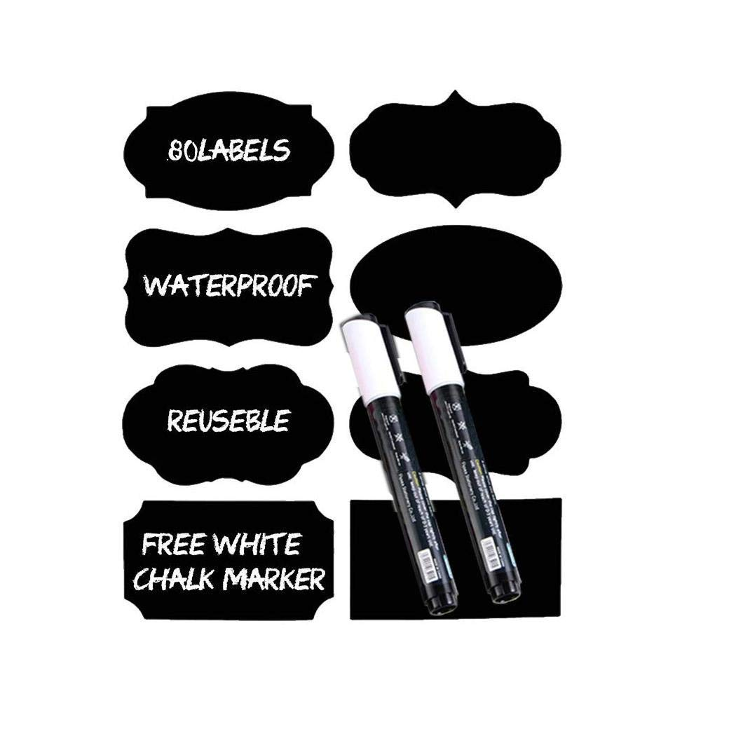 Acret Chalkboard Blackboard Labels Stickers with Pen Removable Reusable Labels Painting & Wallpapering