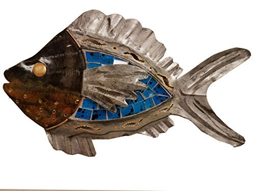 - Ruskin352 Hand-chiseled Tropical Wooden plaque Art Wall Decor Fish With Unique Aqua- Blue Inlaid Mosaic Glass-Pointing Left!