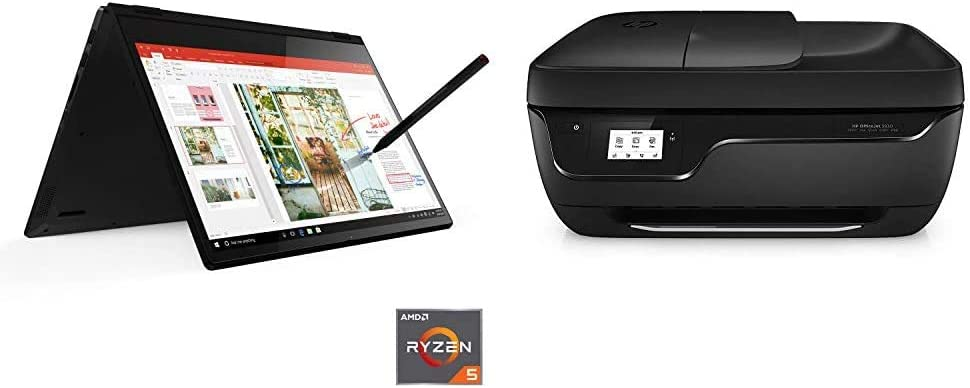 "Lenovo Flex 14 2-in-1 Convertible Laptop, 14"" Touchscreen, AMD 3500U, 12GB RAM, 256GB SSD, Black, with Pen & HP OfficeJet 3830 All-in-One Wireless Printer, HP Instant Ink, Works with Alexa (K7V40A)"