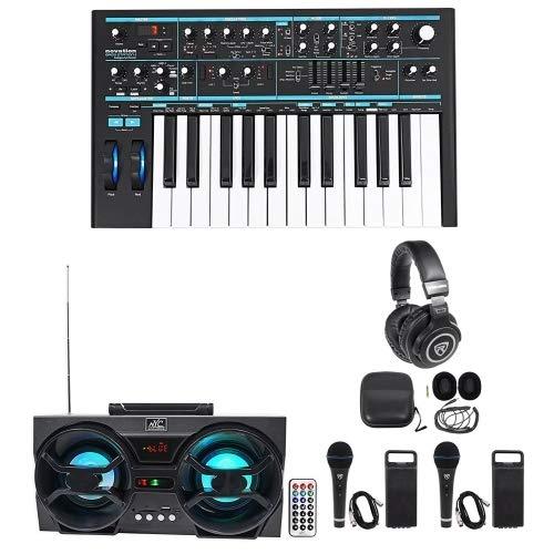 Mini Strobe Light Auxiliary - Novation BASS STATION II 25-Key MIDI USB Keyboard Synth+Headphones+Mics+Speaker