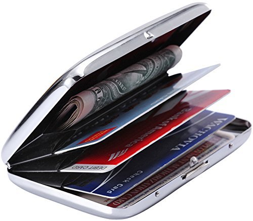 - RFID Stainless Steel Wallet Credit Card Holder- Prevent Electronic Credit Card Scan Theft - Cool Slim Design for Men & Women